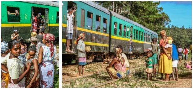 Ambiance d'attente du train dans un des villages du versant Est de Madagascar